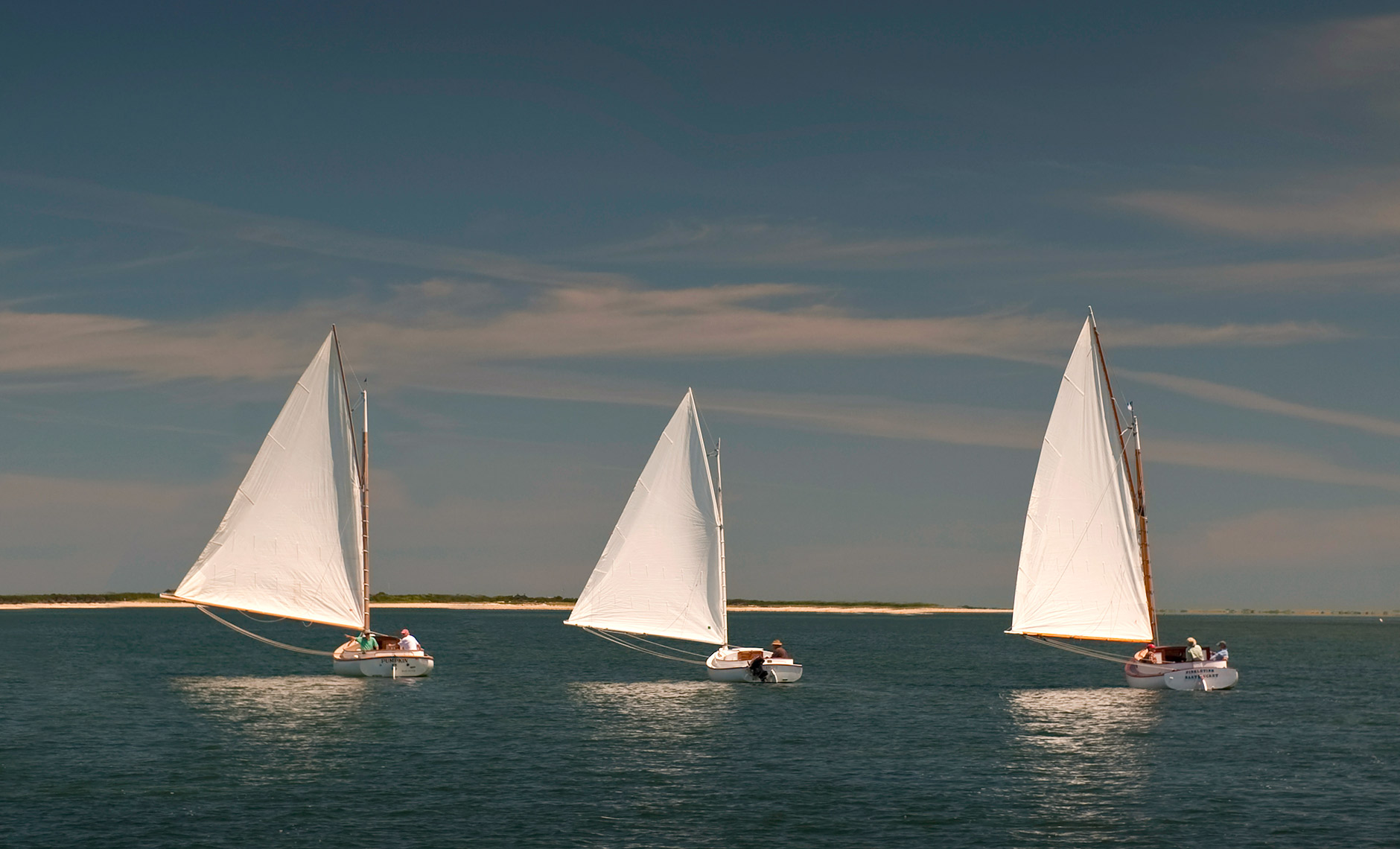 3 sailboats in Nantucket Harbor