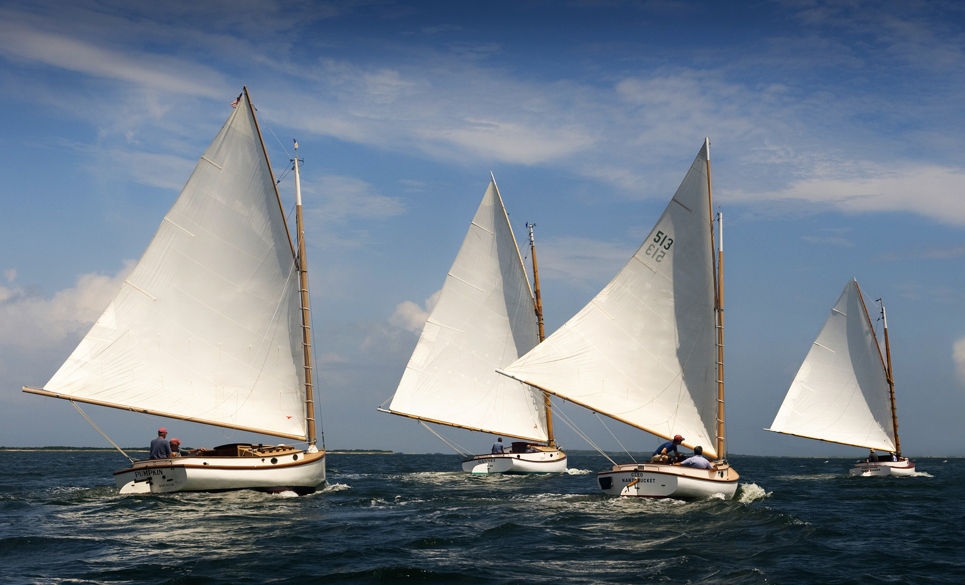 4 Catboats racing in Nantucket Harbor