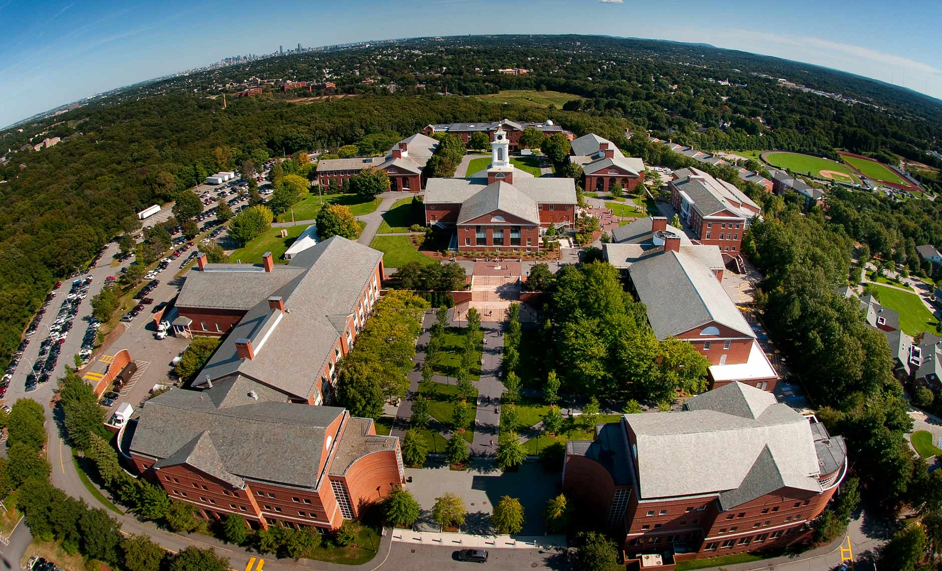 Aerial photograph of Bentley University located in Waltham MA