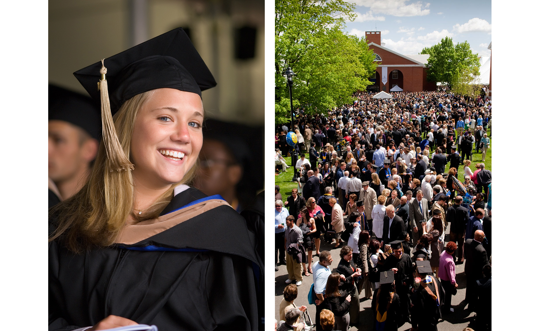female student in cap and gown and crowds after graduation