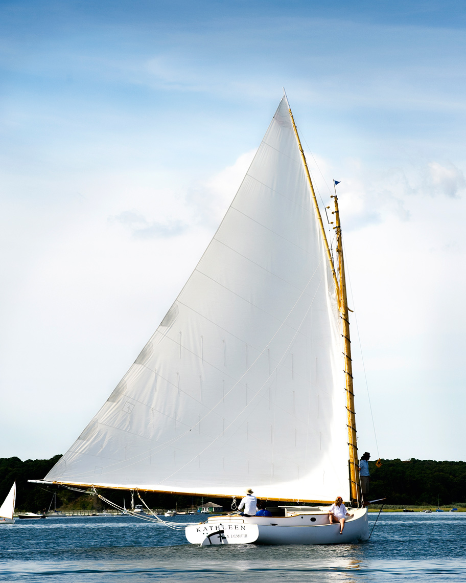 Large catboat named Kathleen in Pleasant Bay, Cape Cod