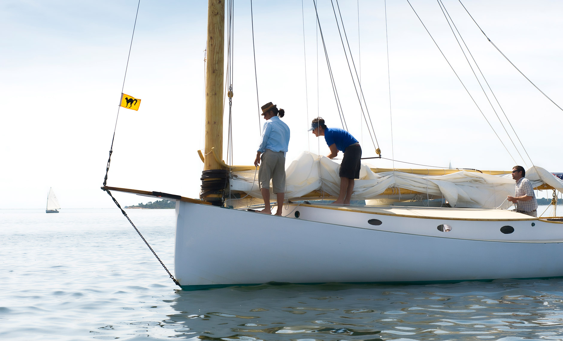 Crew of Large catboat named Kathleen in Pleasant Bay, Cape Cod