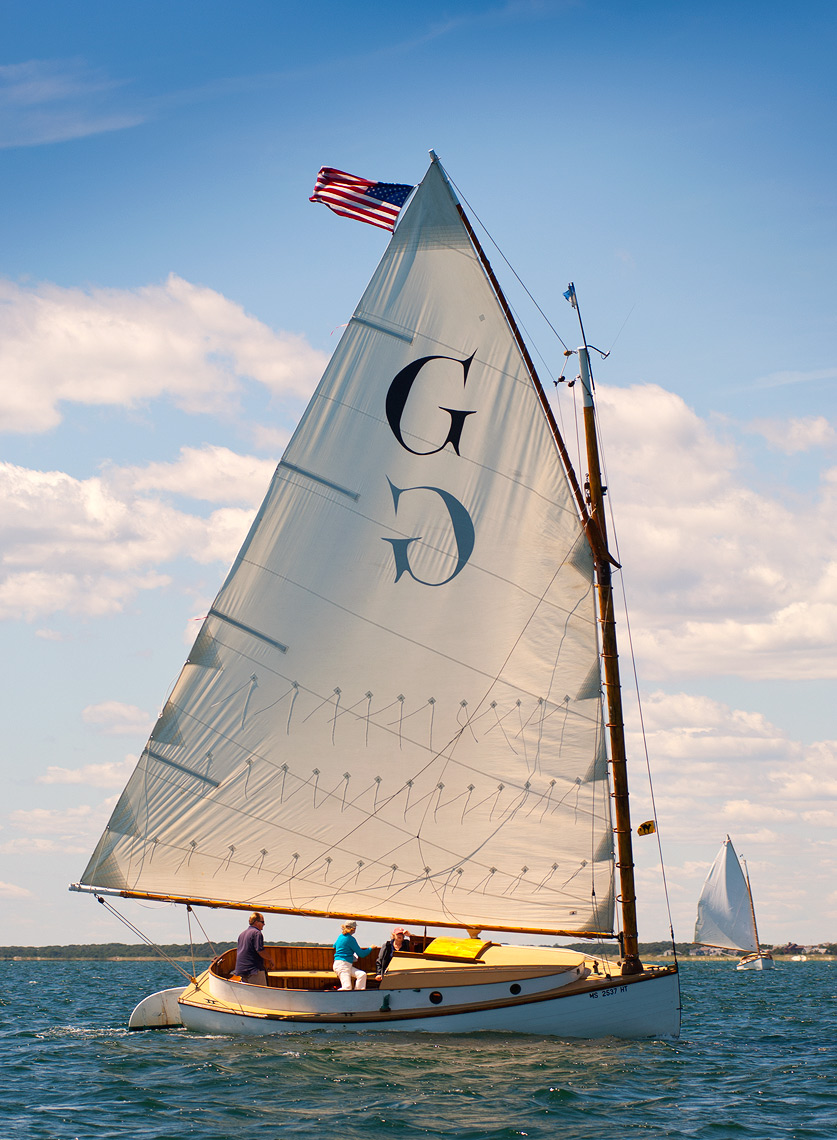 Wooden catboat sailing in Nantucket Sound
