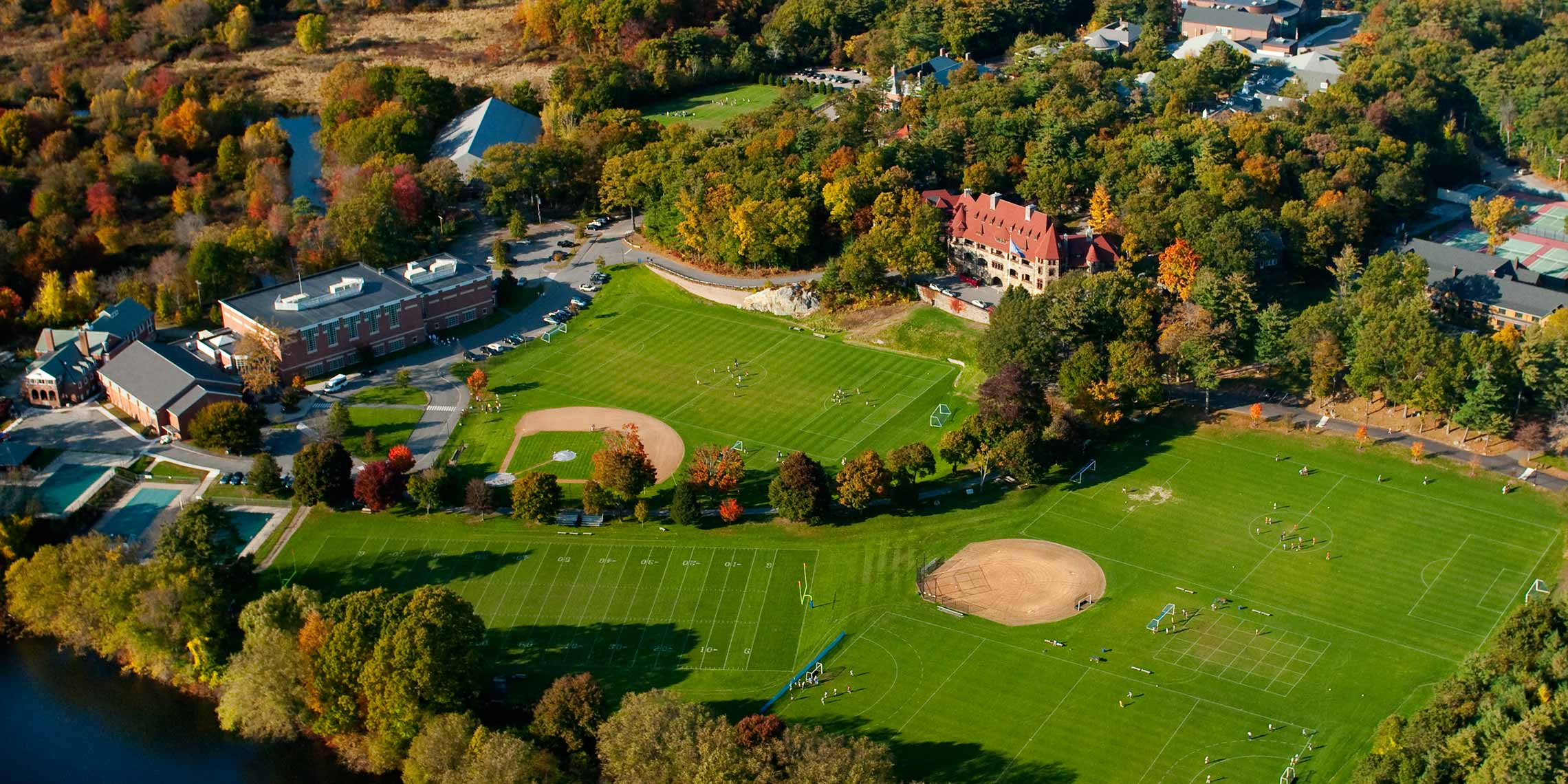 Aerial photograph of playing fields at Nobles and Greenough School