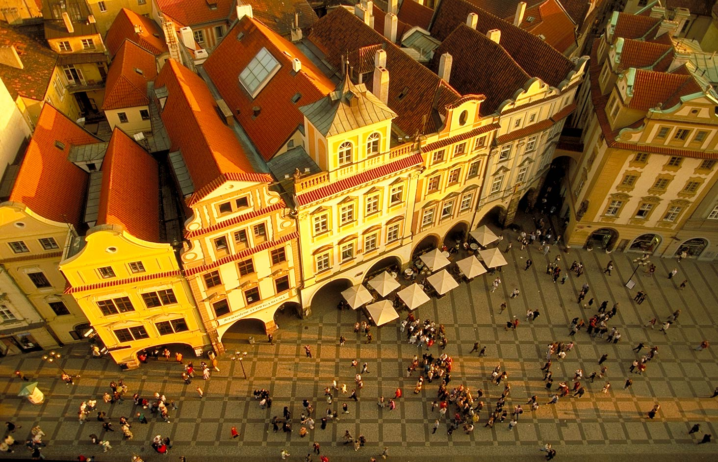 shooting down from clocktower in Prague in Czech Republic