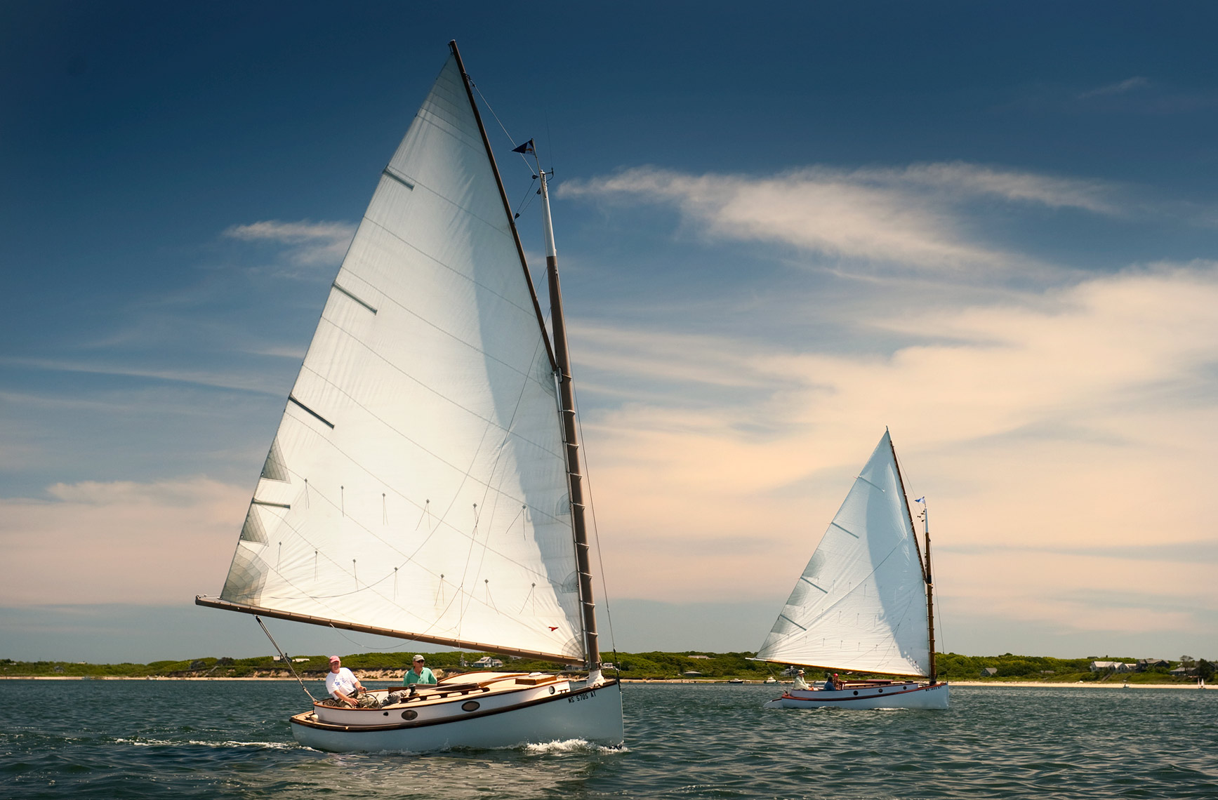 2 catboats saling in Nantucket Harbor