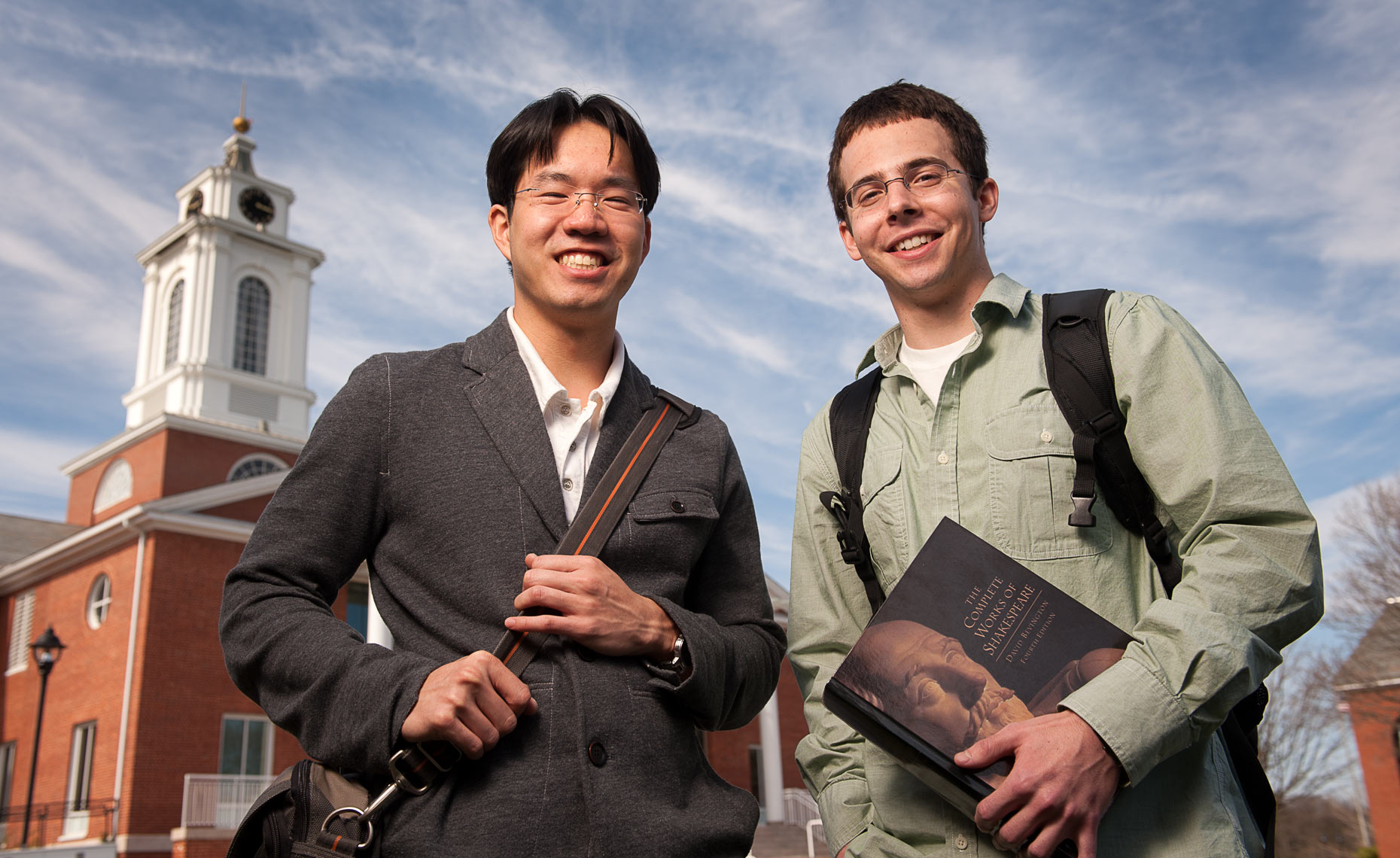 Portrait of two student at Bentley University